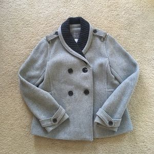 J Crew Peacoat, 6, Grey, Stadium Cloth